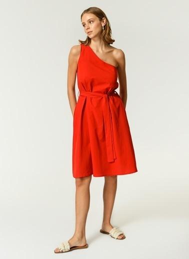 NGSTYLE Kadın Tek Omuz Poplin Elbise NGKSS21EL0059 Kırmızı